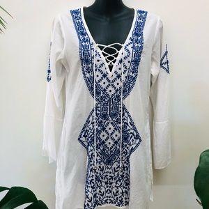Kalyan XS Kaftan Embroidery Tunic v-neck
